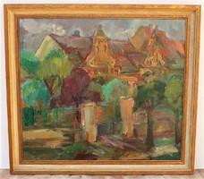 Bottyán János (1925-2000) Öreg ház . c. olajfestménye 79x71cm Eredeti Garanciával !!!