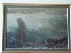 Eladó Munkácsy-díjas Vecsési Sándor: Befagyott Dunaág című, olaj, farost Képcsarnokos festménye