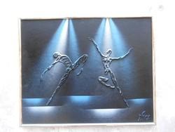 Táncosok reflektor fényben. Avantgard festmény.