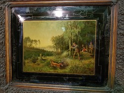 2 db régi vadászjelenetes nyomat szép keretben eladó