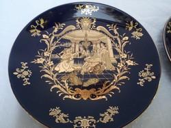 Tányér - porcelán -  ARANYOZOTT Kézzel festett  20 x 3 cm