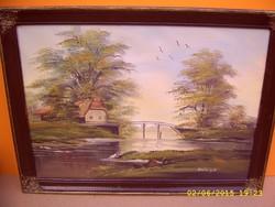 Szatmáry Olga gátőrház,tájkép festmény!