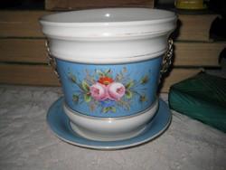 Zsolnay  ??  pécsi jelzésű igényesen elő állított , kézi festésű   porcelán , kaspó + alátét  ...