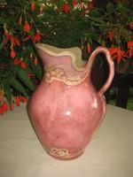 Rózsaszín  kiöntő  , szecessziós, szájánál restaurált  ,mutatós 32 cm-es tárgy,