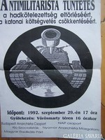 Antimilitarista tüntetés plakátja