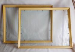 Régi egyszerű vastag  fa képkeret , képcsarnokos 56 x 43 cm.