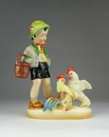 0R431 Régi Heinz Neuhauser kakasos porcelán szobor