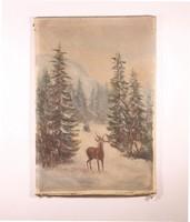 Festmény olaj vászon Szarvas a hegyekben