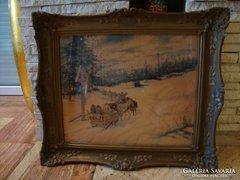 Berkes Antal 920 akvarell festmény 67x76 cm