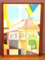 Ismeretlen szignóval kubista pasztell papír festmény, 61 x 42 cm, jjl.