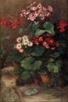 Magyar festő 1940 körül : Cserepes virágok