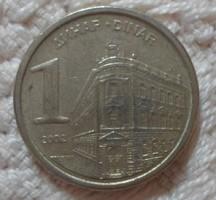 Jugoszláv pénz - érme, 1 dinár (2002)