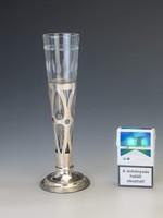 Ezüst art deco üveges váza