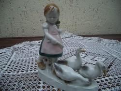 Libákat terelő kislány ritka Fasold &Stauch figura hibátlan
