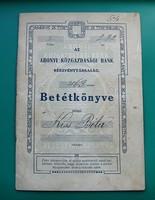 Betétkönyv - Korona betét: 1911-1917- Az Abonyi Közgazdasági Bank Rt. - 463. számu  Betétkönyve