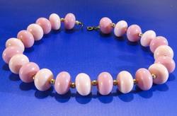 0A436 Rózsaszín gyöngyfűzött bizsu női nyaklánc