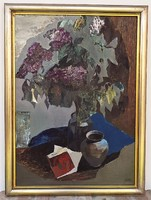Fóth Ernő ( 1934-) Csendélet c. Képcsarnokos olaj festménye 76x56cm Eredeti Garanciával !!!