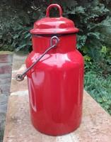 Retro , régi , Bonyhádi  zománcos piros  színű 2 literes tejes kanna