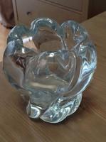 Régi svéd Orrefors kristály üvegváza, akvamarin színű