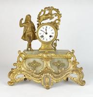 0R207 Antik francia 8 napos tűzarany kandalló óra