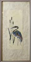 Japán stílusú kép, kézimunka, keretezett, 17x35 cm