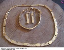 Töltött arany nyaklánc, karkötő és fülbevaló szett (gold filled)