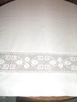 Meseszép különleges vintage kézzel horgolt csipke betétes antik fehér hatalmas vitrázs függöny