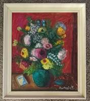 Molnár Piroska festőművész festménye. Címe:Nyár. Tempera/farost. Keret 60x70, kép 50x60cm