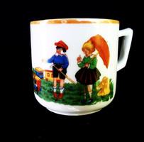 Zsolnay gyermekjelenetes ritka csésze