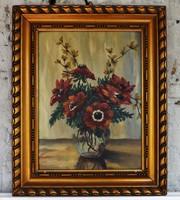 Antik ,régi virág csendélet festmény