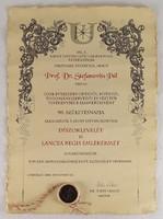 0R693 Dr. S. P. Szent István Egyetem díszoklevél
