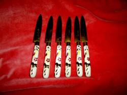 6 db Antik  majolika nyéllel desszert kés