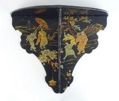 0S016 Antik kínai mintás fekete lakk falipolc