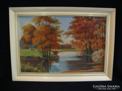 Jelzett olaj-karton festmény erdőbelső folyópart