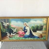 Régi jelzett szentkép olaj-vászon festmény