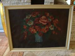 Bene S. virágcsendélet olaj-vászon festmény 81x110 cm