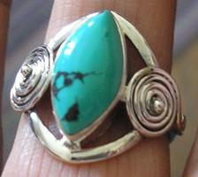 925 ezüst gyűrű 19,3/60,6 mm, tibeti türkizzel