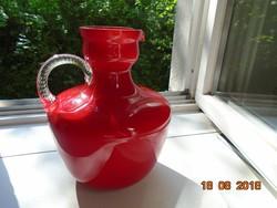 Muránói IMPOZÁNS Carlo Moretti (1934-2008)rétegelt üveg öblös kancsó váza körméret-63cm,súlya1,5 kg