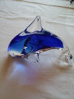 Tömör üveg hal,  delfin, hibátlan 13,5 cm hosszú