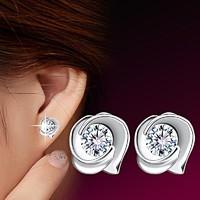925-s ezüst Rózsa CZ köves fülbevaló