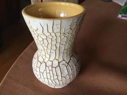 Repesztett mázas váza, 13 cm