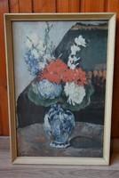 Cézanne Virágcsendélet repro fa keretben retro falikép 57x40 cm