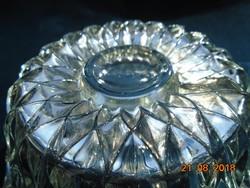 Vastagfalu dombor rozettás üveg tálka-11,5 cm