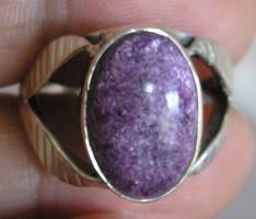 925 ezüst gyűrű, 18,3/57,5 mm, purpurittal