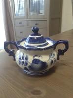 Régi orosz GZHEL kézzel festett porcelán cukortartó