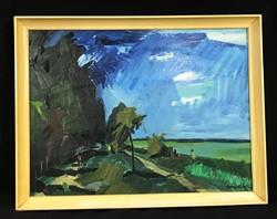 BENEDEK JENŐ (1906-1987) VIHAR BALATON RETRO KÉPCSARNOKOS FAROST FESTMÉNY