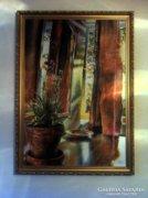 60x100 cm-es olaj vászon festmény, kerettel, címe: Szombat reggel
