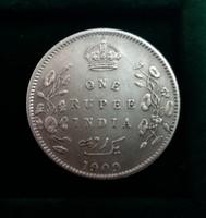 Ritkább ezüst 1 rúpia India 1909, 11,6 g.