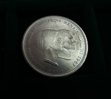 Gyönyörű , hatalmas dán ezüst 10 Korona 1967, 20,5 g.