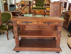 Rusztikus antik tölgy tálalóasztal